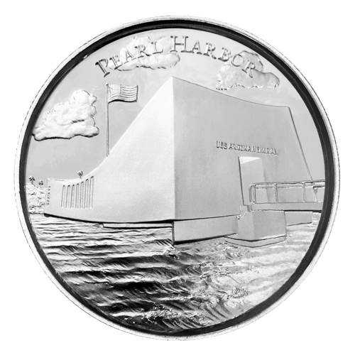 2 oz American Landmarks Series   Pearl Harbor Ultra High Relief Silver Round