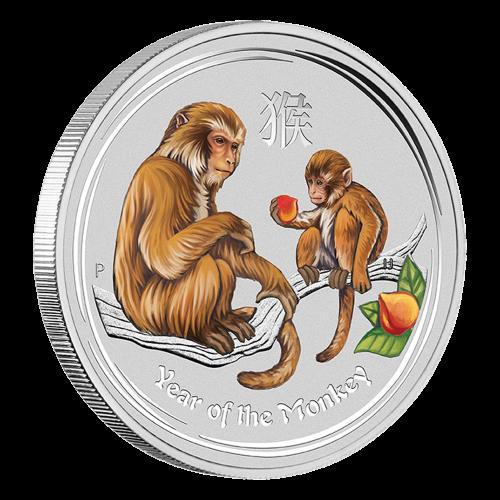 1 oz eingefärbte Silbermünze - Jahr des Affen - Perth Prägeanstalt 2016