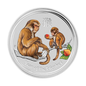 1/2 oz 2016 Perth Mint Lunar Year of the Monkey Fargelagt Sølvmynt