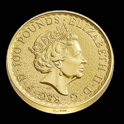 """Ein stehendes Britannia Abbild mit Schild, Dreizack und Olivenzweig, die Worte """"Britannia 2016 1 oz 999.9 Fine Gold"""" (Britannia 2016 1 oz 999.9 Feingold), sowie der Nachname des Künstlers (Nathan) und die Affen Sonderprägung, am Rand eingraviert."""
