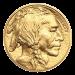 """Ein Bild eines Bisons und die Worte """"United States of America E Pluribus Unum In God We Trust $50 1 oz 9999 Fine Gold"""" (Vereinigte Staaten von Amerika E Pluribus Unum Wir vertrauen auf Gott $50 1 oz 9999 Feingold)."""