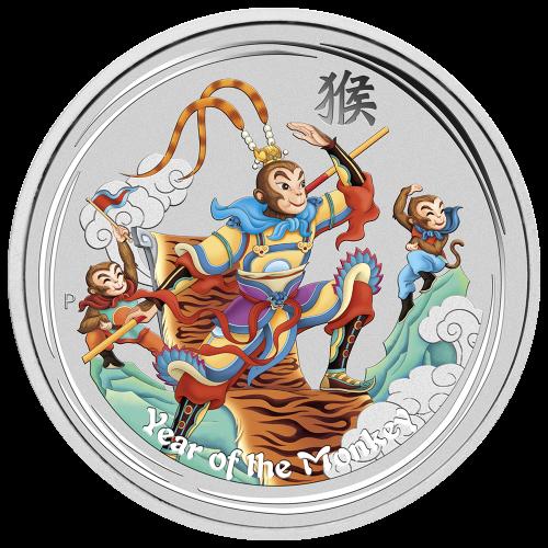 """Das Abbild der Königin Elizabeth II. und die Worte """"Elizabeth II Australia 8 Dollars 5 oz 999 Silver 2016"""" (Elizabeth II Australien 8 Dollar 5 oz 999 Silber 2016)."""