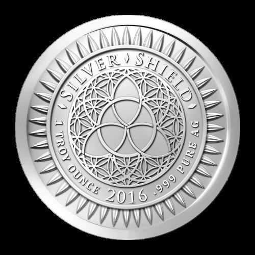 """Das revidierte Silver Shield Logo mit dem Trivium in der Mitte, eingekreist von den Worten """"Silver Shield 1 ounce 2016 .999 Pure AG"""" (Silver Shield 1 oz 2016 .999 Reines SILBER), umgeben von 47 Kugeln."""