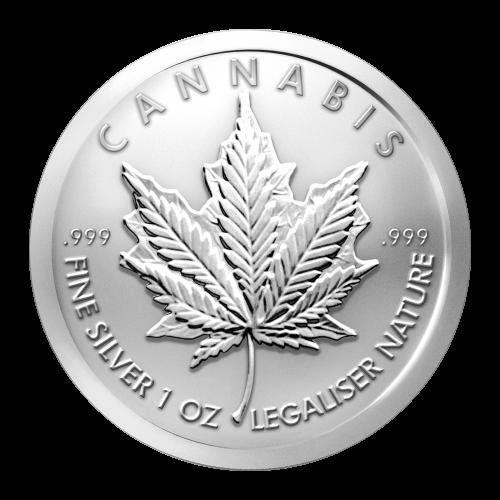 Hanf - .999 Feinsilber - 1 oz - Natur legalisieren - .999 - Hanfblatt über einem Ahornblatt liegend