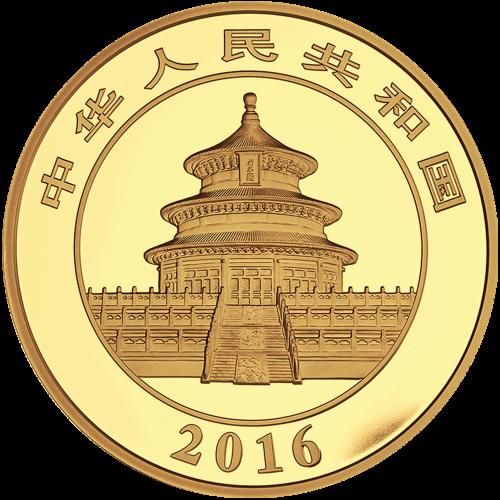 """Ein Panda, der auf einem Ast liegt mit Bambus im Hintergrund und die Worte """"800 Yuan 50 g Au 999"""" (800 Yuan 50 g Gold 999)."""