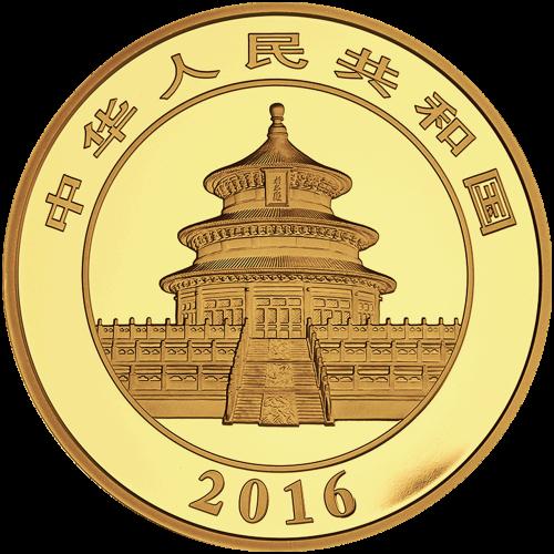 """Ein Panda, der auf einem Ast liegt mit Bambus im Hintergrund und die Worte """"1500 Yuan 100 g Au 999"""" (1500 Yuan 100 g Gold 999)."""
