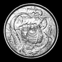 2 oz Silbermedaille - Freibeutersammlung   Kraken Ultrahochrelief