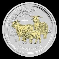 1 oz vergoldete Silbermünze - Jahr der Ziege - Perth Prägeanstalt 2015