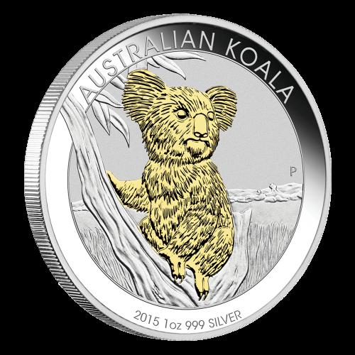 1 oz vergoldete Silbermünze - australischer Koala - 2015