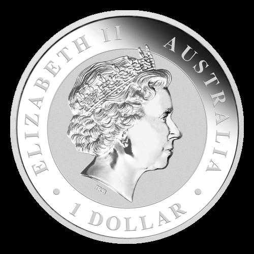 """Der Oberkörper eines ausgewachsenen Koalas und ein Eukalyptuszweig mit den Worten """"Australian Koala 2014 1oz 999 Silver"""" (australischer Koala 2014 1 oz 999 Silber)."""