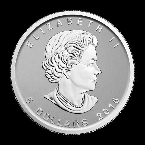 """Wanderfalke im Sturzflug mit den Worten """"Canada Fine Silver 1 oz Argent Pur 9999"""" (kanadisches Feinsilber 1 oz reines Silber 9999) und den Initialen des Künstlers."""
