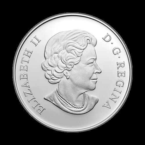 """Das Bild eines grotesk aussehenden, Blätter getriebenen, grünen Mannes und die Worte """"Canada 25 Dollars 2016"""" (Kanada 25 Dollar 2016)."""