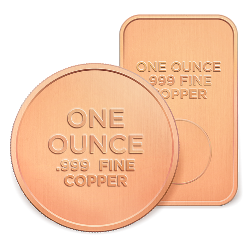 1 oz Assorted Copper Bars and Rounds