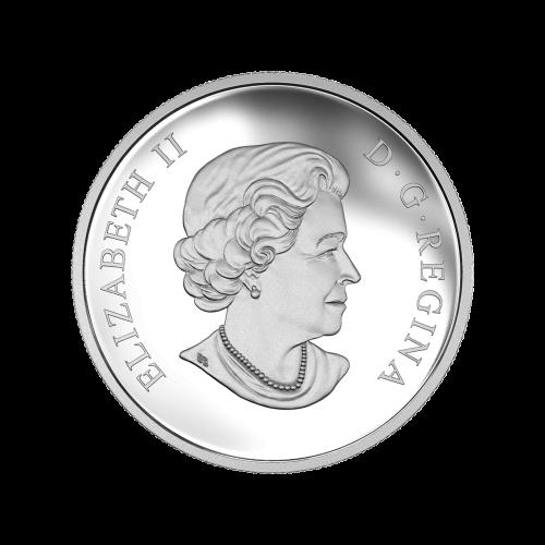 """Captain Kirk, in Farbe, auf der linken Seite, auf der rechten Seite ist die U.S.S. Enterprise eingraviert und die Worte """"Canada 2016 10 Dollars"""" (Kanada 2016 10 Dollar)."""