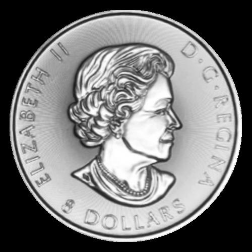 """Drei Ahornblätter an einem einzigen Zweig und die Worte """"Canada 2016 Fine Silver 1 1/2 oz Argent Pur"""" (Kanada 2016 Feinsilber 1 1/2 oz reines Silber) und die Initialen des Künstlers."""