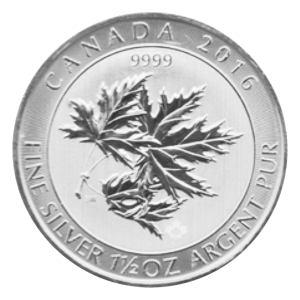 1.5 oz 2016 Canadian Maple Leaf Superleaf Silver Coin
