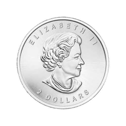 """Ein Weißkopfadler mit einem Lachs setzt zur Landung in seinem Nest an und die Worte """"Canada 2016 9999 Fine Silver 1/2 oz Argent Pur 9999"""" (Kanada 2016 9999 Feinsilber 1/2 oz reines Silber) und die Initialen des Künstlers."""