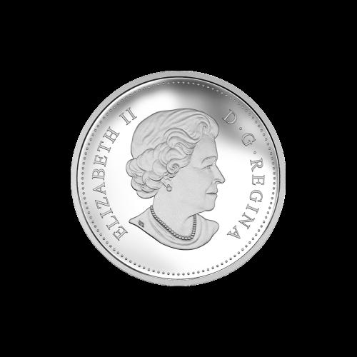 """Ein Edmontonia in Farbe, in einer Waldlandschaft und die Worte """"Canada 10 Dollars 2016"""" (Kanada 10 Dollar 2016)."""