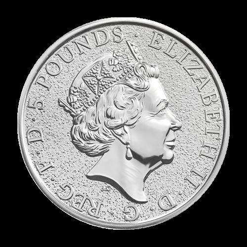 """Ein stilisiertes Bild des Löwen von England, welcher das Schild der königlichen Familie hält und die Worte """"Lion of England 1 oz Fine Silver 9999 2016"""" (Löwe von England 1 oz Feinsilber 9999 2016)."""