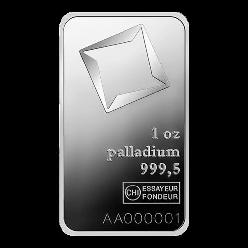 """Das Valcambi Logo mit den Worten """"1 oz Palladium 999,5"""" und eine einzigartige Seriennummer"""