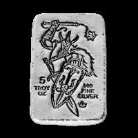Lingot d'argent coulé à la main Fléau et bouclier de Viking Monarch Precious Metals de 5 onces