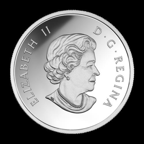 """Farbige Großblättrige Ahornblätter und ein Pfad durch den Wald mit den Worten """"Canada 2016 20 Dollars"""""""