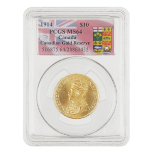 1914 $10 Canadian Gold Reserve PCGS MS-64 Gold Coin