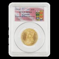 1914 $10 kanadische Goldreserve PCGS MS-64 Goldmünze