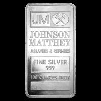 100 oz Johnson Matthey klassischer Silberbarren