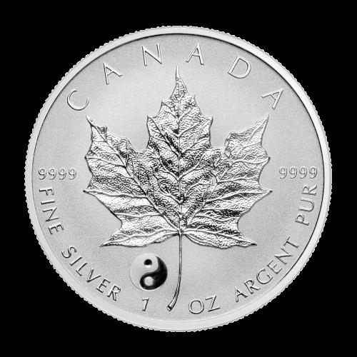 """Ahornblätter mit verschiedenen Sonderprägezeichen und den Worten """"Canada 9999 Fine Silver 1 oz Argent Pur"""""""