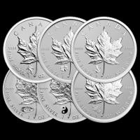 Satz von 6 x 1 oz Silbermünzen kanadische Ahornblatt Sonderprägezeichen Polierte Platte (invertiert) 2016