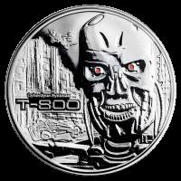 2 oz Silbermedaille Terminator T-800 Polierte Platte (invertiert)