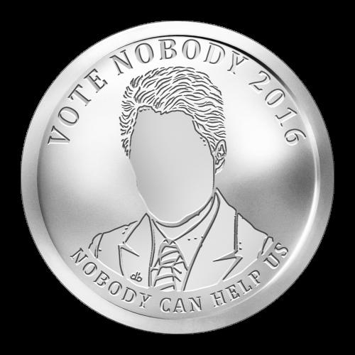 """Gesichtsloser Politiker und die Worte """"Vote Nobody 2016 Nobody Can Help Us"""" (Wähle niemand 2016 Niemand kann uns helfen)"""