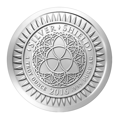 """Das Silver Shield Logo mit dem Trivium in der Mitte, eingekreist von den Worten """"Silver Shield 1 ounce 2016 .999 Pure AG"""" (Silver Shield 1 oz 2016 .999 Reines SILBER) und umgeben von 47 Kugeln."""