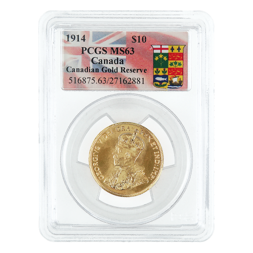 1914 $10 Canadian Gold Reserve PCGS MS-63 Gold Coin