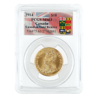 1914$10Canadian Gold Reserve PCGS MS-63 Gold Coin
