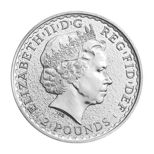 """A Standing Britannia with shield, trident and olive branch and the words """"Britannia 2015 1 oz 999 Fine Silver"""" and the artist's last name (Nathan) and a sheep privy symbol engraved into the edge"""