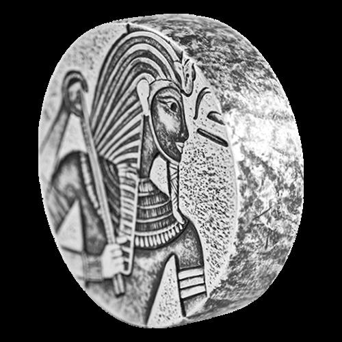Bild von König Tut, der einen Schlangenstab hält