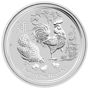 5 oz Silbermünze Jahr des Hahns Perth Mint Mondserie 2017