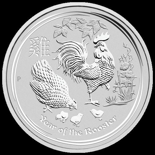 10 oz Silbermünze Jahr des Hahns Perth Mint Mondserie 2017