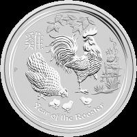 1 kg | Kilo Silbermünze Jahr des Hahns Perth Mint Mondserie 2017