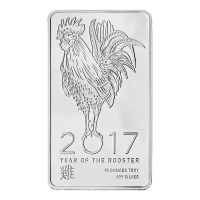10 oz Elemetal Lunar Year of the Rooster Silver Bar