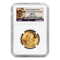 Moneda de Oro NGC MS-63 Reserva de Oro Canadiense $10 1914