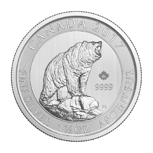 1.5 oz 2017 Canadian Grizzly Bear Silver Coin
