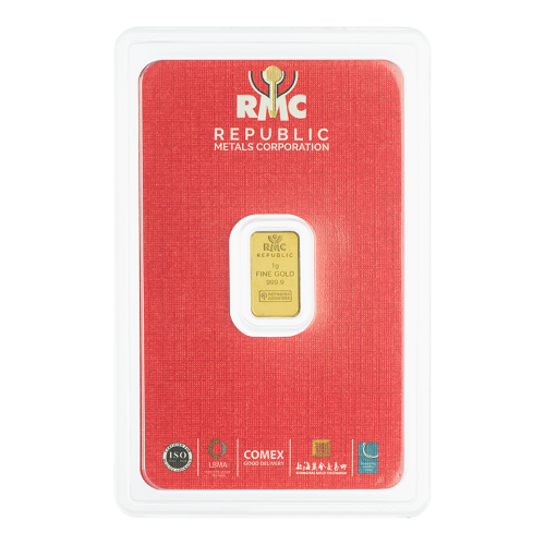 1 g Republic Metals Corporation Gold Bar