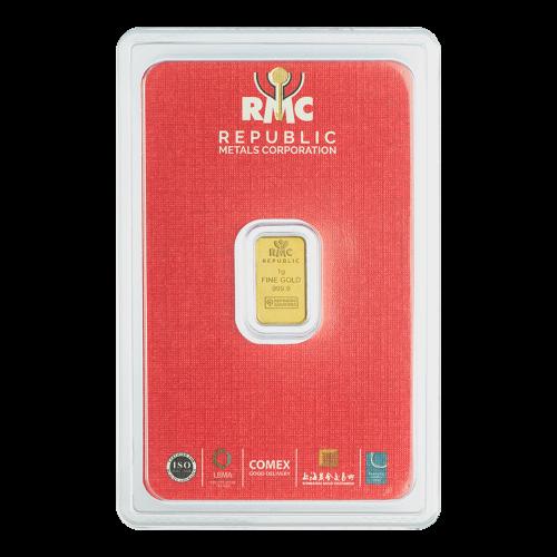 Lingot d'or Republic Metals Corporation de 1 g