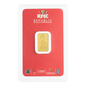 2.5 g Republic Metals Corporation Gold Bar