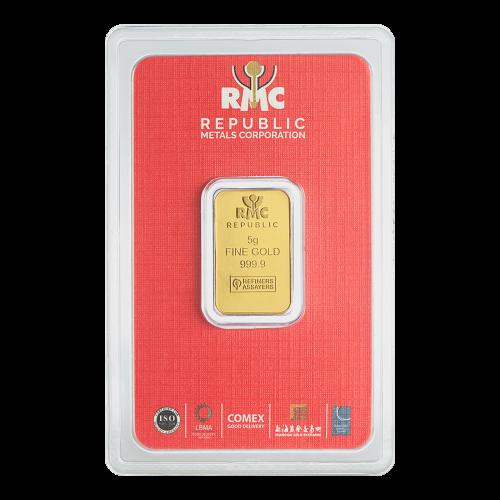 5 g Republic Metals Corporation Gold Bar
