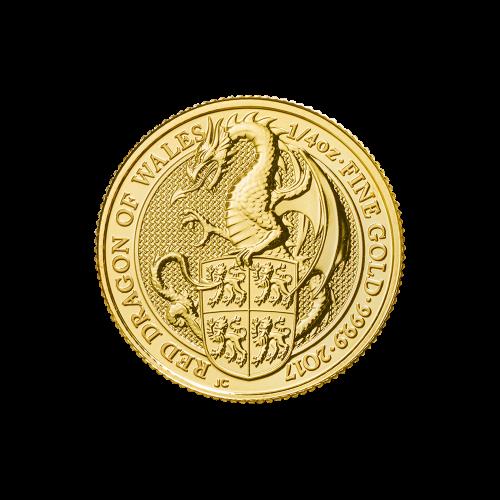 Les bêtes de la reine 2017 de 1/4 d'once | Pièce d'or Dragon rouge du pays de Galles
