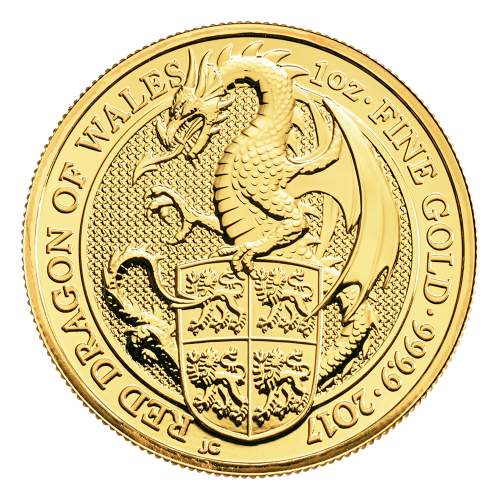 1 oz 2017 Royal Mint Queen's Beasts | Rød Drage av Wales Gullmynt